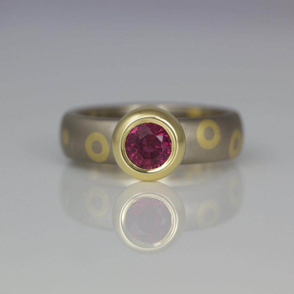 Modern Yellow Amp White Gold Ruby Ring Rub Over Set David