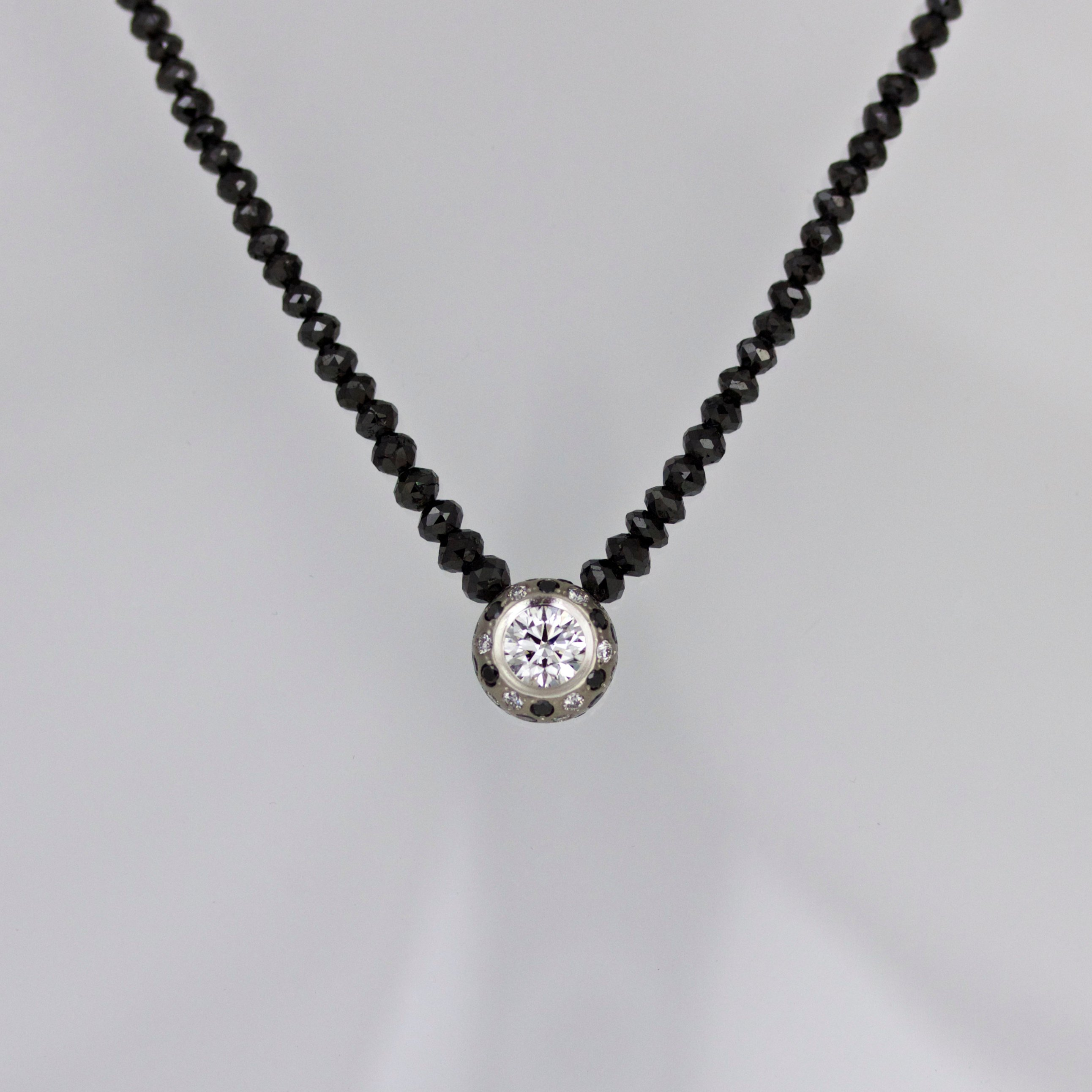 White black diamond necklace handmade in London bepsoke
