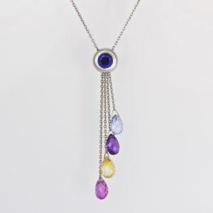 Natural fancy colour sapphire necklace set in Platinum