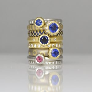 Natural sapphire stacking rings the finest contemporary jewellery handmade in London bespoke