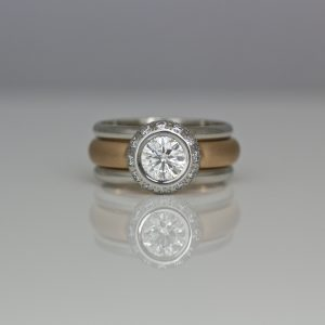 Diamond and rose gold stacking set