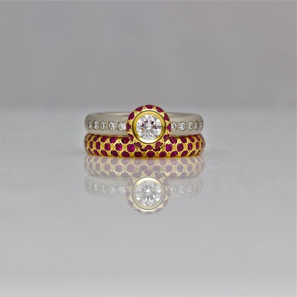 Ruby & diamond ring stack