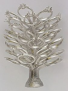 A platinum casting ring tree