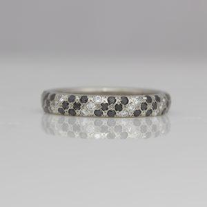 Black & white diamond pave set ring