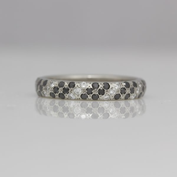 Black & white diamond pave set ring