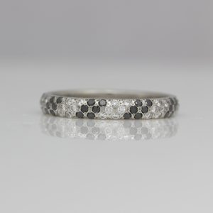 Black and white diamond platinum ring