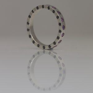 Purple & black diamond platinum ring