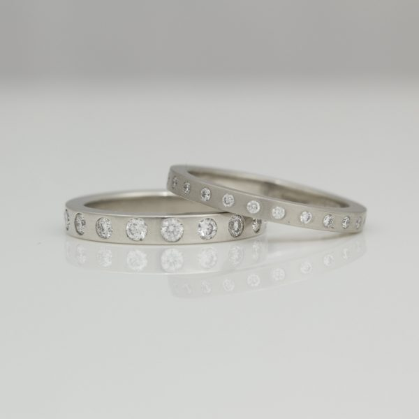 Modern platinum diamond eternity ring