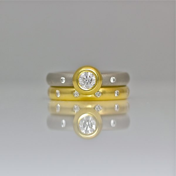 Platinum & 18ct yellow gold, diamond wedding and engagement set.