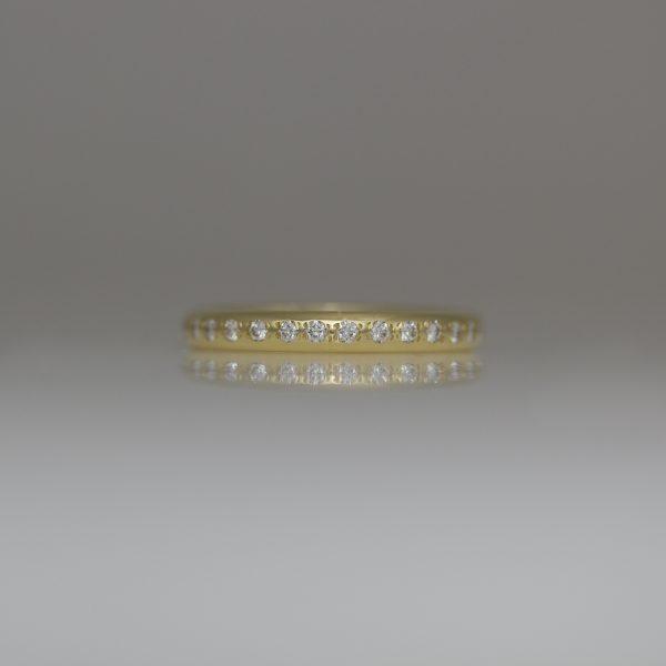 Pave set diamond ring 18ct yellow gold