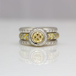 Natural yellow & white diamond stacking ring set in platinum