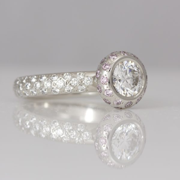 Pink & white diamond set platinum ring