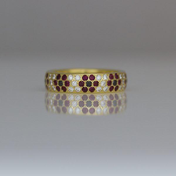 Diamonds, Sapphires & rubies flush set flower rings
