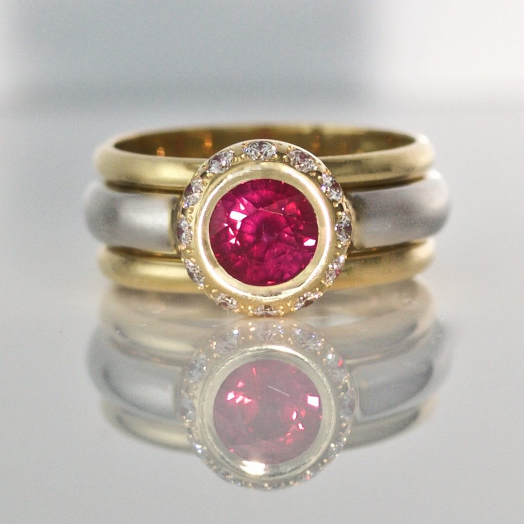 1.2ct Burmese ruby triple ring
