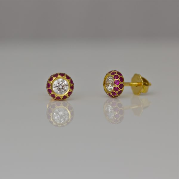 Diamond & Ruby ear-studs in 18ct gold.