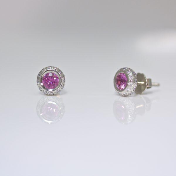 Pink sapphire with diamond ear-studs