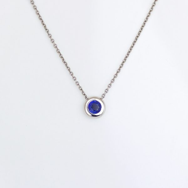 Blue sapphire rub-over set Platinum necklace