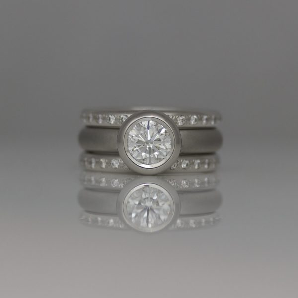 Contemporary Platinum Diamond ring set