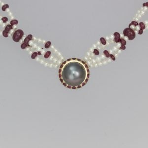 Ruby & Tahitian pearl necklace