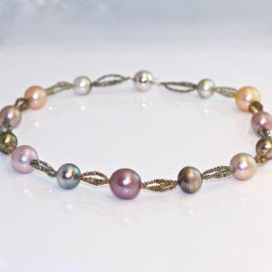 Tahitian pearl & fancy diamond necklace