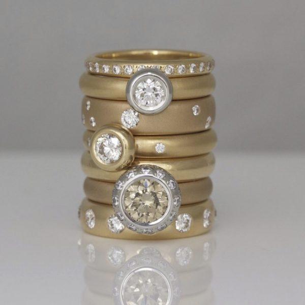 Diamonds randomly set in 18ct rose gold