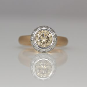 Natural pink champagne diamond ring