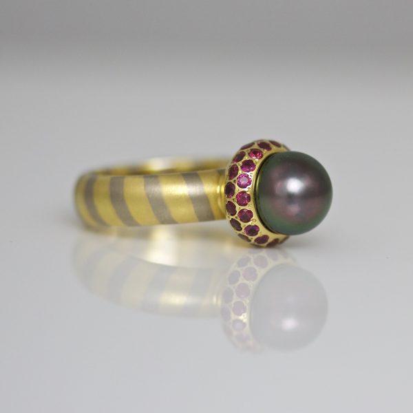 Tahitian pearl & ruby ring.