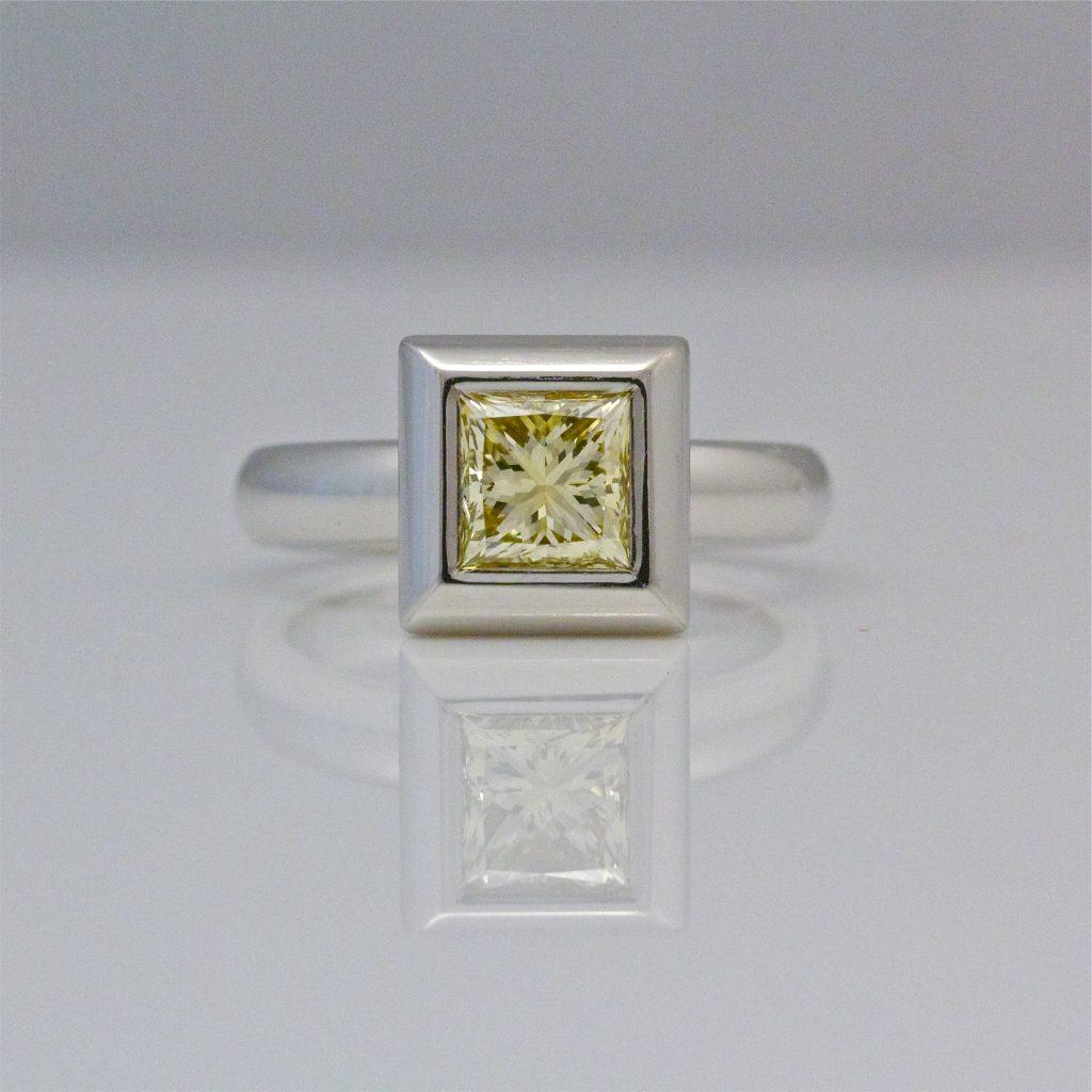 Natural yellow princess cut diamond platinum ring