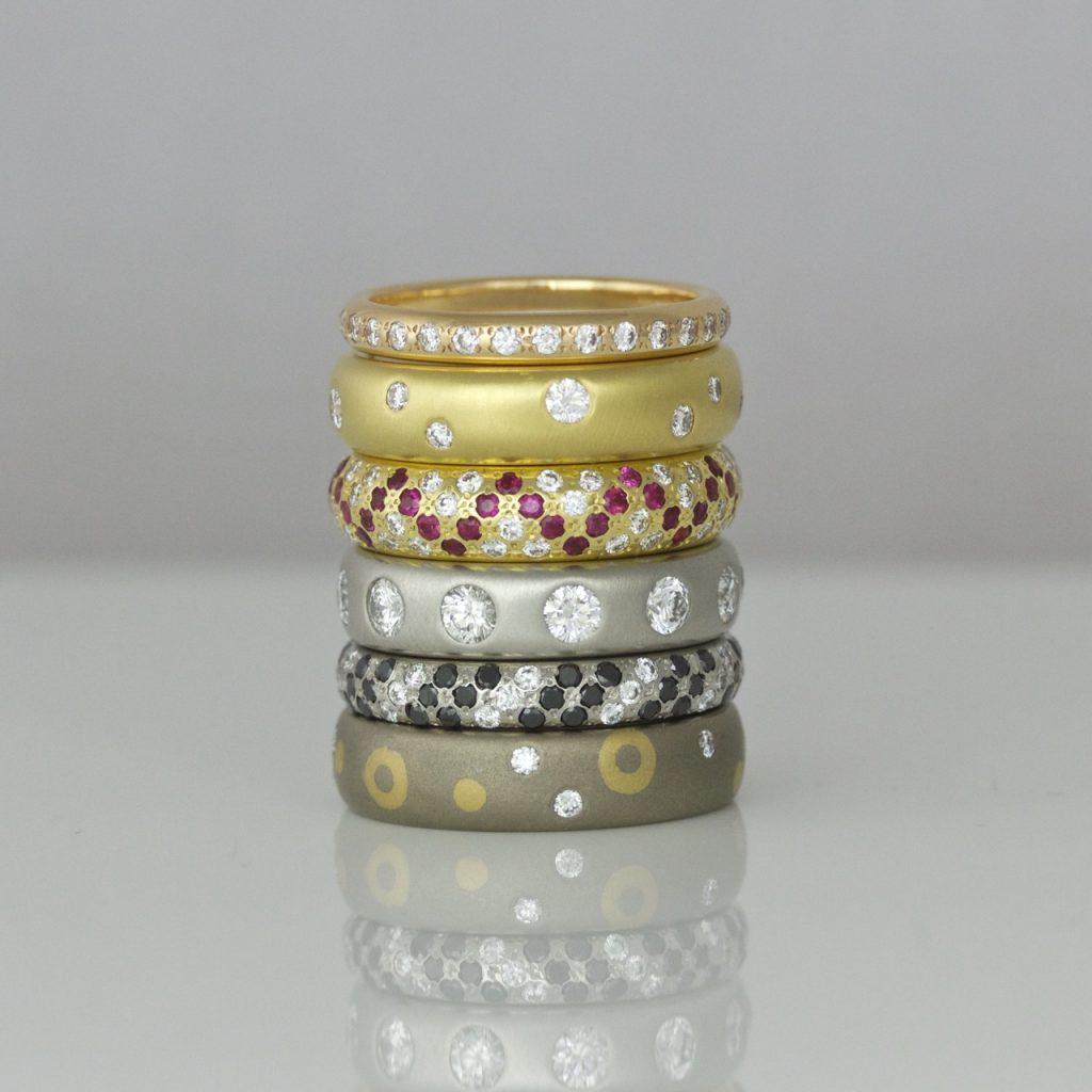 Narrow Platinum diamond set ring