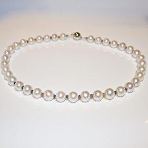 Fancy colour sapphire & pearl necklace
