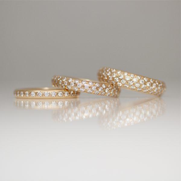 Pave' set rose gold diamond ring