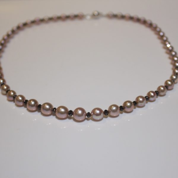 Pink pearl & black diamond necklace