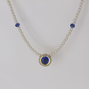 Sapphire with diamond halo necklace